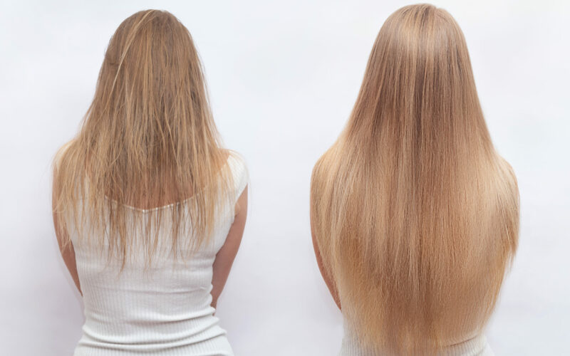 Woman,Before,And,After,Hair,Extensions,On,White,Background.,Hair